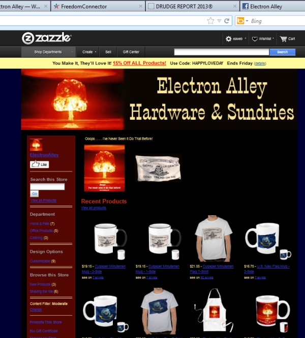 Electron Alley Zazzle Store